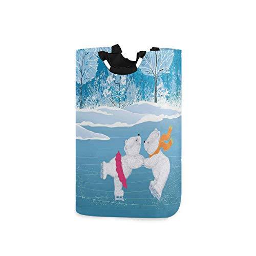 COFEIYISI Wäschesammler Wäschekorb Faltbarer Aufbewahrungskorb,Kleine Eisbären Schlittschuh auf gefrorenem See Love Partners Künstlerisches Weihnachtsthema,Wäschesack - Wäschekörbe - Laundry Baskets