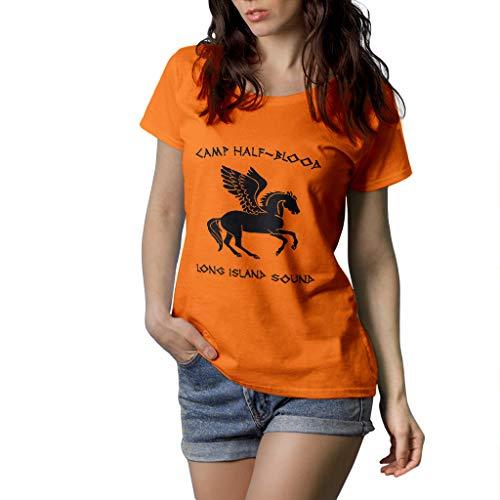 Percy Jackson Camp Half Blood - T-Shirt Damen - 100{7cfe51b1d81b457fa6b380af82c00cfaa0b56050f40a1ee8c2e3b4c2d8aa845e} Baumwolle (XL, Arancione)