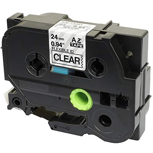 Compatibile Cassette TZe-FX151 TZ-FX151 nero su trasparente 24mm x 8m Nastro flessibile per Brother P-Touch PT-2430PC 3600 9600 9700 9800 D600VP D800W E300VP E850 H500 P700 P750W Etichettatrici