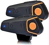 YAOUFBZ BT-S2 Intercomunicador para Motocicleta Casco Auriculares Bluetooth Sistemas de comunicación para Motocicleta,Distancia de intercomunicador de hasta 800 M