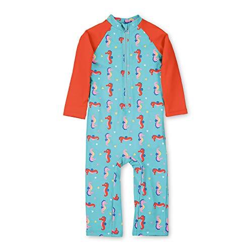Sterntaler Kinder Mädchen Schwimmanzug mit Windeleinsatz, Lange Arme und Beine, UV-Schutz 50+, Alter: 18-24 Monate, Größe: 92, Meeresblau