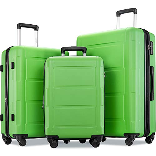 Merax Luggage Set with TSA Lock, All Expandable 3 Piece Hardshell Lightweight Suitcase Set 20inch 24inch 28inch (Apple Green)