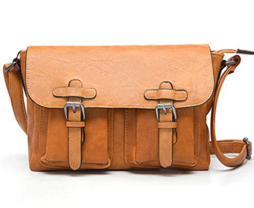 Umhängetasche mit Überschlag Damen und Herren aus Kunstleder - Messenger Bag - Crossbody Bag Damen - Schultertasche Handtasche Praktische Größe - sehr viele Fächer (Mango)