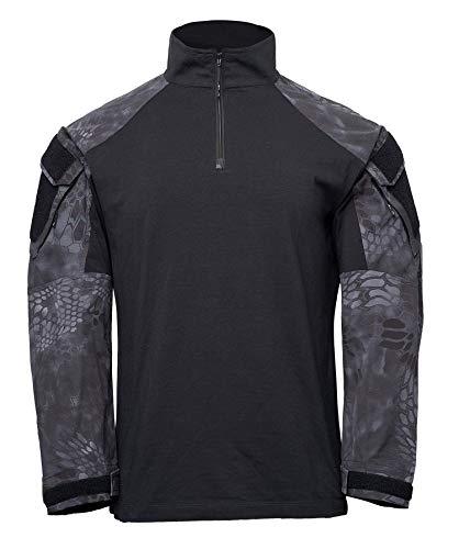 Kryptek T-Shirt Tactique à Manches Longues pour Homme avec Demi-Fermeture Éclair XL Noir/Typhon