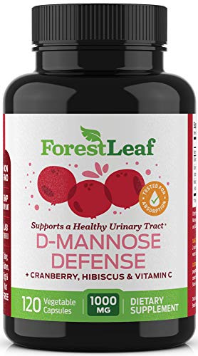 ForestLeaf D-Mannose Defense 1000mg - D Mannose with Cranberry, Hibiscus and Vitamin C - for Urinary Tract Health and Cleanse, Urinary Pain & Bladder Control - 120 Veggie Capsules