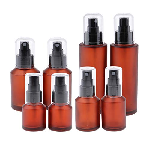 8 Pieces Wine Red Spray Bottles(15ML/30ML/60ML/100ML) - Empty Glass Bottles For Cleaning Solutions - Best Refillable Mist Spray Frosted Glass Vials
