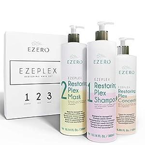 EZERO Tratamiento Plex con Champu, Mascarilla y Aceite Serum para Cabellos Dañados o Secos con Aminoácidos, Ácido Hialurónico, Manteca de Karité y Aceite de Argán y Ricino - Vegano - Profesional