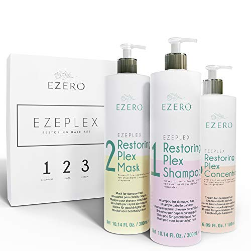 EZERO Hair Treatment Plex with Shampoo, Mask and Oil Serum Concentrate for Damaged or Dry Hair with Amino Acids, Hyaluronic Acid, Shea Butter and Argan and Castor Oil – Vegan