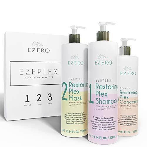 EZERO Trattamento Shampoo, Maschera e Olio-Siero Concentrate Plex per Capelli Secchi o Danneggiati con Amminoacidi, Acido Ialuronico, Burro di Karité e Oli di Argan e Ricino - Vegano - Professionale