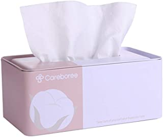 Careboree Luxury Facial Cotton Tissue Value Pack Modern Decorative Napkin Tissue Dispenser Case Holder Set Includes 1 Wipe Dispenser Refillable and 1 Pack of Cotton Dry Wipes