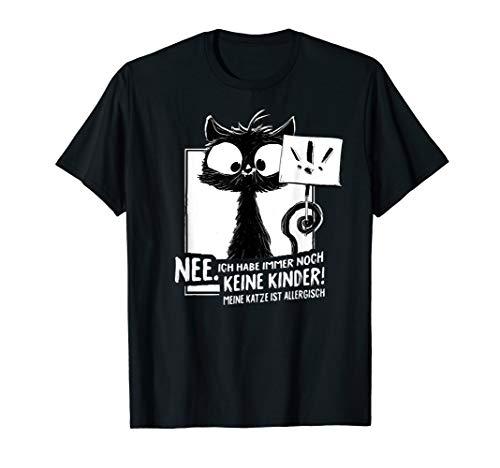 Schwarze Katze Allergisch Spruch Katzenliebhaber Katzen Miau T-Shirt