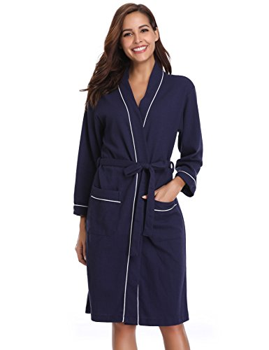 Vlazom Damen Bademantel Langarm Baumwolle Leicht Morgenmantel Waffel Sleepwear Mit V Kragen Kimono Saunamantel Robe