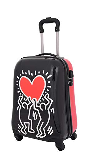 Cabin Size Hand Luggage Tough Hard Shell Suitcase Big Heart Printed 4 Wheel TSA Lock Bag A280