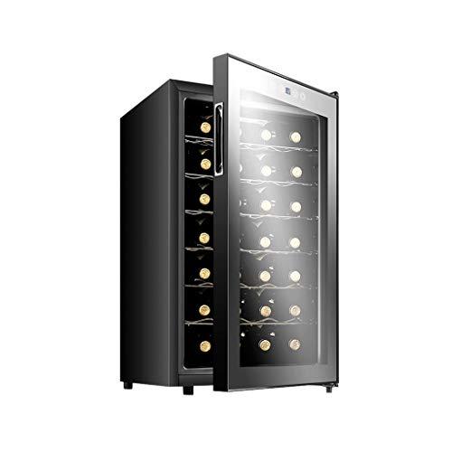 Nuitab Wijnkoelkast wijnkoeler Cooler 6 rekken 28 flessen 12-18 ° C temperatuur zone bierdranken koelkast kelder anti-UV-glazen deur zwart 43 × 51 × 72,6 cm