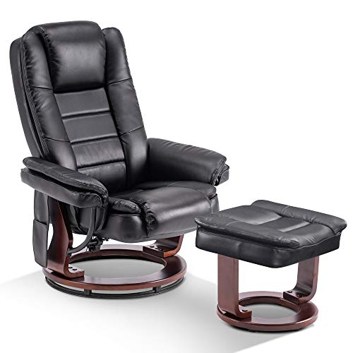 Mcombo Recliner with Ottoman Chair Accent Recliner Chair with Vibration Massage, 360 Degree Swivel Wood Base, Faux Leather 9096 (Black)