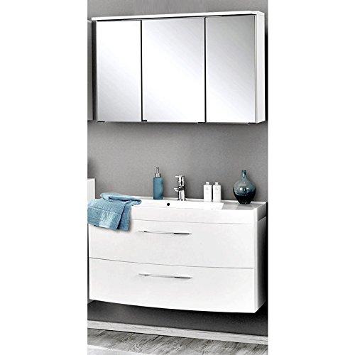 Badmöbel Waschplatz Set Hochglanz weiß 100cm Waschtisch Badezimmer Badezimmermöbel LED Spiegelschrank