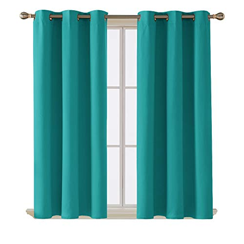 Deconovo Blackout Curtains Turquoise Thermal Insulated Heat Cold Noise Reducing Set of 2 Window Drapes for Adults Kids Boy Girl Teen Bedroom Living Room Kitchen and Office 2 Panels 42x45 in, Turquoise