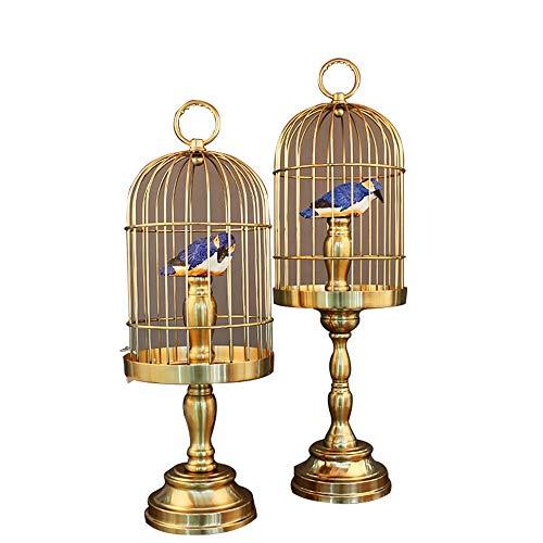 DAMAI STORE Los regalos creativos de la novedad y prácticos jaula de pájaro Decoración de Oficinas adornos de aleación de dos juegos de alta gama regalos animales urraca jaula de pájaros grand