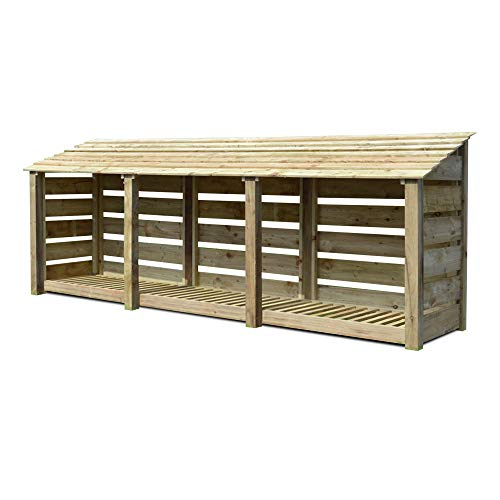 Rutland County Garden Furniture Empingham 4 ft Tall Log Store/Garden Storage Heavy Duty Pressure Treated Timber With Forward Sloping Roof