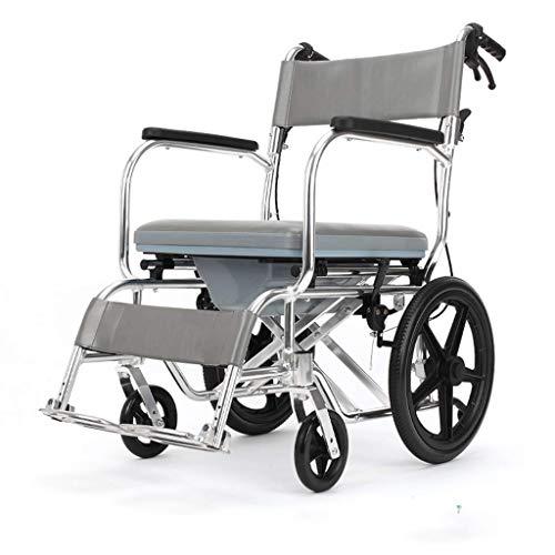 AOLI Leichtmetalllegierung Rollstuhl, Reise Stuhl Tragbarer Rotary-Pedal, Sportkinderwagen Falten, Alt faltbaren Rollstuhl, Geeignet für schwangere Frauen, Weiss,Weiß