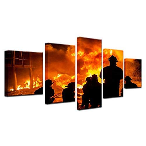 NVSHENY-LOVED Wanddekoration Moderne 5 Panels Große Wand Leinwand Tapferen Feuerwehr Silhouette Gedruckt Wohnkultur Wohnzimmer Leinwand Malerei Wandkunst Bild