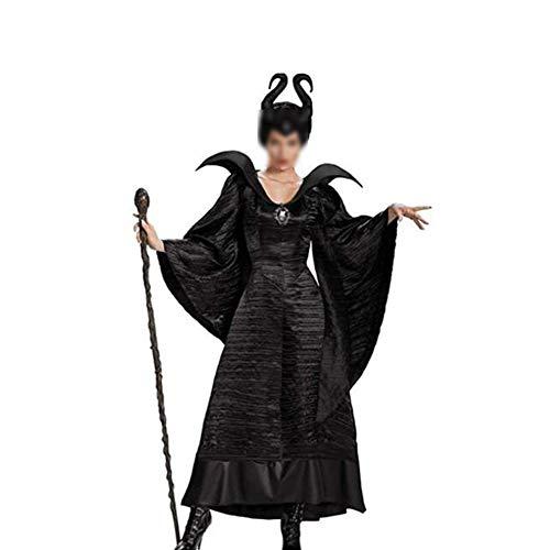 Zhenwo Erwachsener Damen Schwarze Hexe Witwe Kostüm Dunkle Fee-Damenkostüm Halloween Kostüm Maleficent Sexy Vampir Grässlich Teufel Karneval Verkleidung Lange Kleid,Schwarz,L
