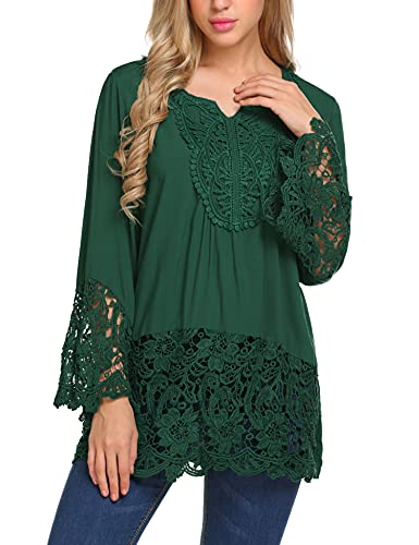 SoTeer Women's V Neck Lace Crochet Tops Flowy Bell Sleeve Boho Blouses Casual T Shirts Blouses Tops,Green XL