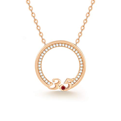 CDE 35th Birthday Gift Necklace 925 Sterling Silver 35 Years Old Women Necklaces Mother'sDay Jewelry Gift for Women Wife Mother Girlfriend Wedding Anniversary