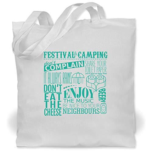 Shirtracer Festival - Festival camping lettering - Unisize - Weiß - Festival - WM101 - Stoffbeutel aus Baumwolle Jutebeutel lange Henkel