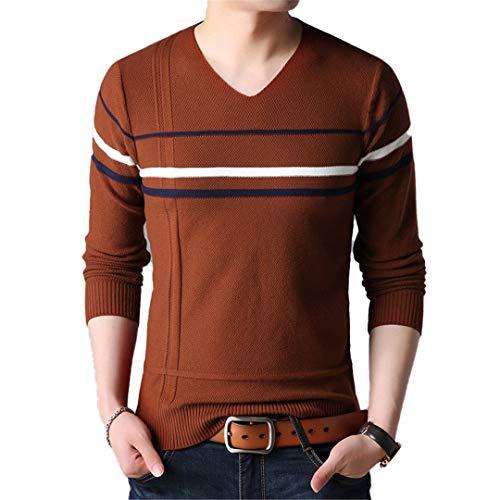 wkd-thvb Maglioni per Uomo Pullover Maglione Pullover Maglioni da Uomo con Scollo a V Slim Fit Orange 4XL