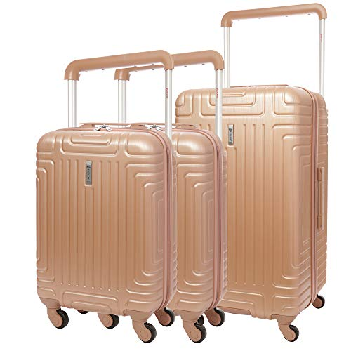 Aerolite ABS Trolley Valigia Rigida Leggera con 4 Ruote, 2 x 55cm Bagaglio a Mano + 1x 76cm Bagaglio da Stiva, Set di 3 Valigie (Rosa Oro)