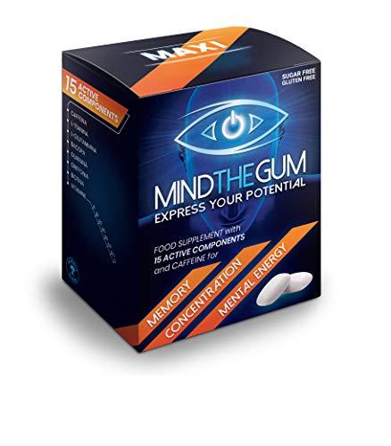 MIND THE GUM - Integratore per Concentrazione, Memoria ed Energia Mentale in Chewing-Gum. L'unico con ben 15 componenti attive. Confezione da 36 gomme, gusto Menta.