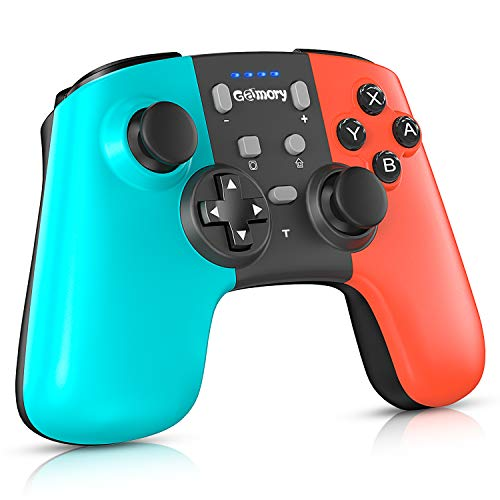 Gamory Controller für Switch, Bluetooth Wireless Controller für Switch, Wiederaufladbarer Akku Remote Controller Gamepad mit einstellbarem Turbo und Dual Shock Joysticks