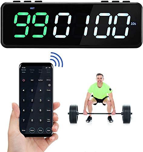 4YANG Temporizador de Entrenamiento físico, Temporizador de intervalo magnético con Control de aplicación Bluetooth, Temporizador de Gimnasio con 11 Modos de temporización (Verde Blanco
