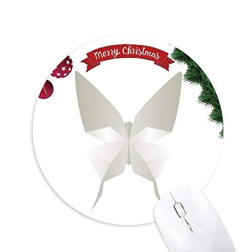 White Butterfly Origami Abstract Muster Rund um Gummi Maus Pad Weihnachtsbaum Mat
