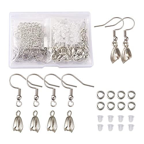 Cheriswelry 80 ganchos de acero inoxidable para pendientes franceses con 80 piezas de pinzas de hielo, 80 anillos de salto, 100 piezas de seguridad para aretes colgantes de joyería
