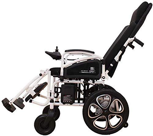 KOSGK Rollstuhl Elektrisch, Leichte Zusammenklappbare Adult Electric, Liegen Für Behinderte Menschen, Geeignet Für Behinderte/Alte (Weiß)