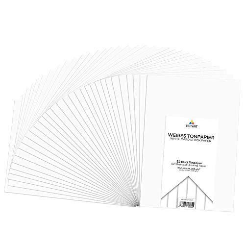 Tritart - Tonpapier Weiß A4 300g /m² I 52 Blatt festes Bastelpapier HOCHWERTIG I stabiles kreativ Zeichenpapier zum Basteln und Malen I Fester Zeichenkarton I DIY Tonzeichenpapier Weiß