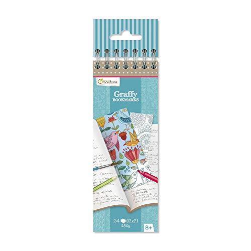 Avenue Mandarine GY038O - Un carnet à spirale Graffy Bookmark 24 marques pages à colorier (12 designs x 2) 250g, Mandala Fleurs