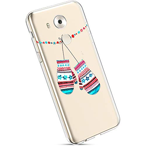 Ysimee Coque Huawei Mate 8 Noël, Étui Housse en Silicone Transparent avec Motif Christmas Ultra Léger et Mince Crystal Clear TPU Flexible Soft Touch Skin Coque pour Huawei Mate 8,Gants