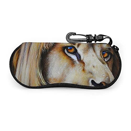 Funda protectora de neopreno con cremallera suave para gafas de sol, bolsa con clip para hombres y mujeres Leopard water eyes scary