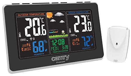 Funkwetterstation | Wettervohersage mit Kalender | Farbdisplay | 2 Alarme | Anzeige der Innen- und Außentemperatur | Luftfeuchtigkeit | Wetterstation | Wecker | Hygrometer | Digitales Thermometer |