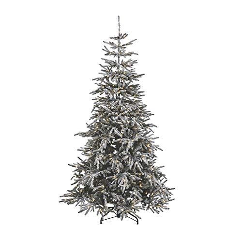 NOMA 7 Ft. Pre-lit Flocked Artificial Pine Christmas Tree with 650 Warm White LED Bulbs | 2527 Tips | Alpine