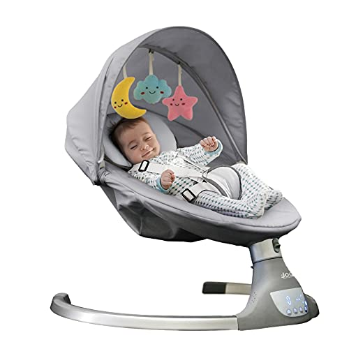 Nova Baby Swing for Infants - Motorized Portable Swing, Bluetooth Music Speaker with 10 Preset Lullabies, Remote Control, Gray - Jool Baby Products