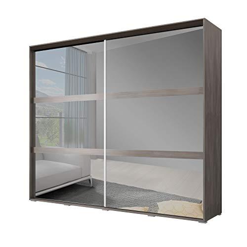 MOEBLO Kleiderschrank Schwebetürenschrank mit Spiegel 2-türig Schrank mit vielen Einlegeböden und Kleiderstange Gaderobe Schiebtüren BxHxT 230x216x70 - K004