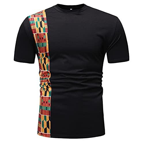 hellomiko Camiseta Africana Patchwork Color Impreso Tops para Hombre Estilo Ankara Camiseta Cuello Redondo Kitenge Camisetas de Manga Corta