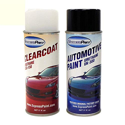 ExpressPaint Aerosol - Automotive Touch-up Paint for Cadillac Escalade - White Diamond Metallic 98/WA800J - Color + Clearcoat Package