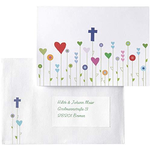 15 Einladungskarten, Dankeskarten, Glückwunschkarten Kommunion/Konfirmation/Taufe - Gottes Wiese - inkl. Zubehör und zum einfachen Selbstbedrucken