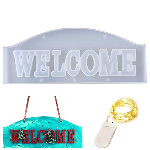 DOTLITE Welcome Resin Mold, 3D Welcome Letter Mold, Silicone Word Sign Mold with 2Pcs Fairy Lights for Home, Desktop, Table, Room, Door Decorations, Home Sign, Wall Art, Christmas Hanging Projects