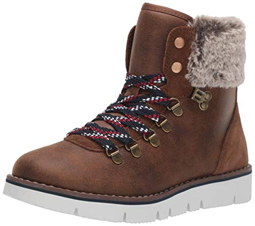 Skechers Bobs Rocky - Urban Hiker Flache Hausschuhe Damen, Braun (Brown Micro Leather/Faux Fur Cuff Brn), 38 EU